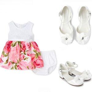 NWT Children's Place Floral Dress + Low Heel Shoes